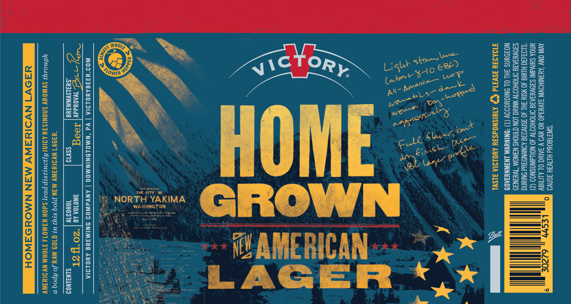 Victory Homegrown Lager 12-Ounce Can Label